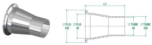 ASME BPE Concentric Reducer DT26 DT-4.1.3-2
