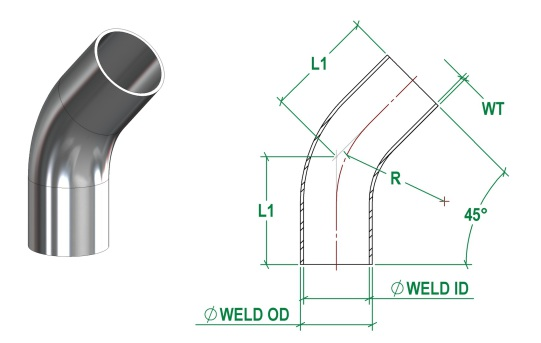 DIN11865-A 45 Deg Bend