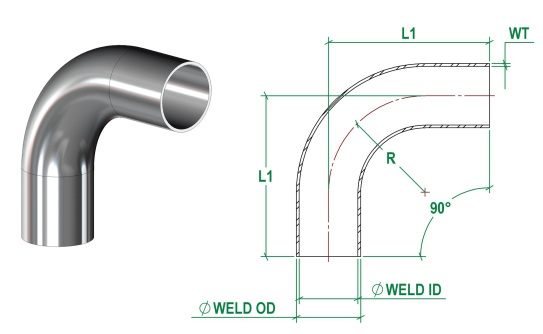 DIN11865-A 90 Bend Long