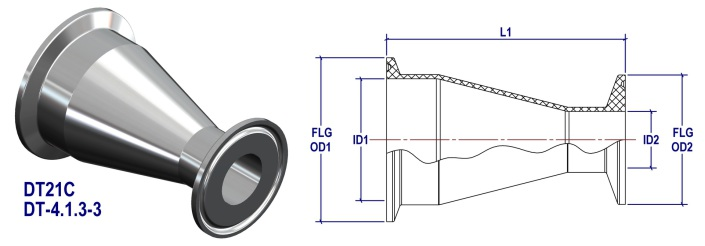 ASME BPE Concentric Reducer DT21 4.1.3-3