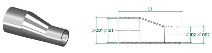 ASME BPE Eccentric Reducer DT11 4.1.3-1