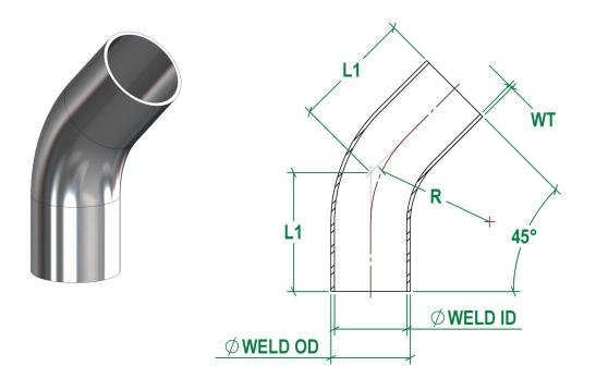 DIN11852 45 Bend