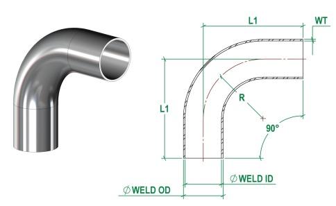 DIN11865-B 90 Deg Bend