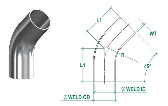 DIN11865-C 45 Deg Bend